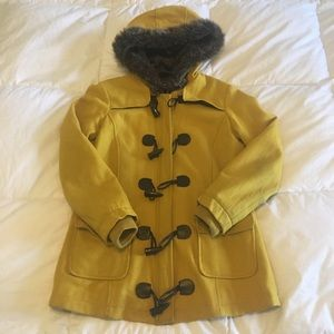 Forever 21 Yellow Hooded Peacoat.